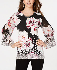 JM Collection Gathered-Sleeve Tunic Top, Created for Macy's