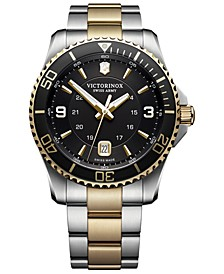 Men's Swiss Maverick Two-Tone Stainless Steel Bracelet Watch 43mm