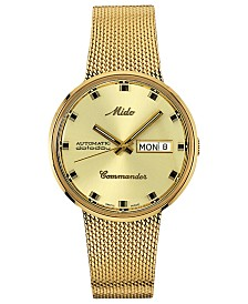 Mido Men's Swiss Automatic Commander Gold-Tone PVD Stainless Steel Bracelet Watch 37mm