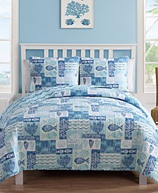 Patchwork Sea Life Reversible 3-Pc. Full/Queen Quilt Set