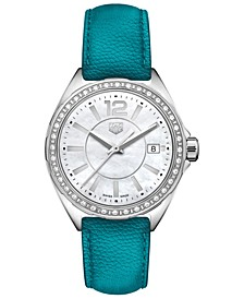 Women's Swiss Formula 1 Diamond (1/4 ct. t.w.) Petroleum Blue Leather Strap Watch 35mm