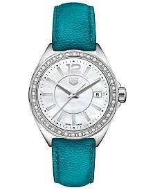 TAG Heuer Women's Swiss Formula 1 Diamond (1/4 ct. t.w.) Petroleum Blue Leather Strap Watch 35mm