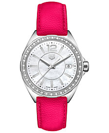 TAG Heuer Women's Swiss Formula 1 Diamond (1/4 ct. t.w.) Pink Leather Strap Watch 35mm