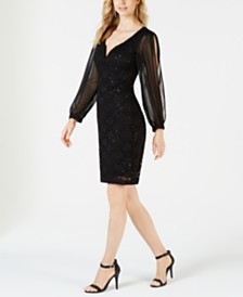Connected Embellished Illusion Lace Dress