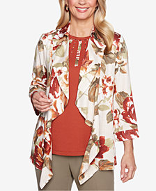 Alfred Dunner Autumn In New York Open Front Jacket