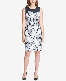 Tommy Hilfiger Placed-Floral Sheath Dress, Created for Macy's