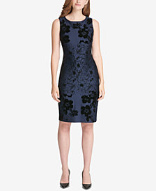Tommy Hilfiger Flocked Scuba Sheath Dress