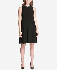 Tommy Hilfiger Beaded Neckline A-Line Dress