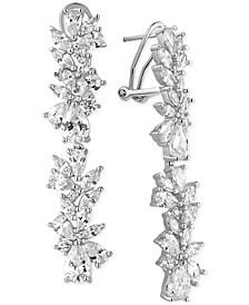 Cubic Zirconia Cluster Linear Drop Earrings in Sterling Silver