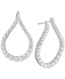 Cubic Zirconia Fancy Shape Medium Hoop Earrings  in Sterling Silver