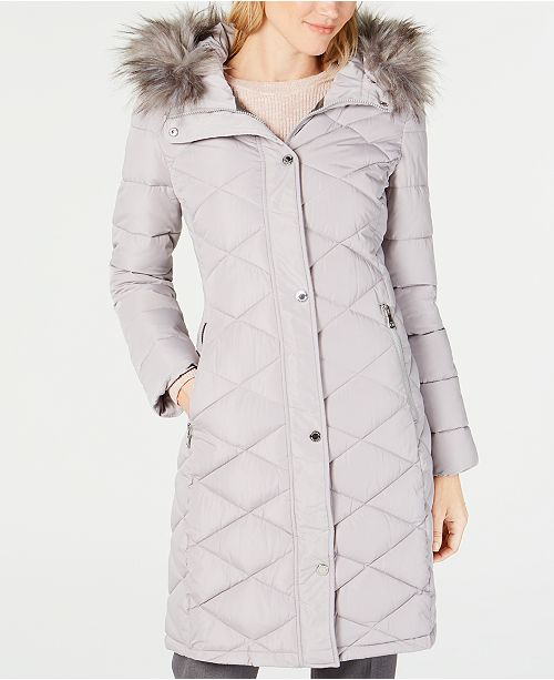 a6c000d72 Calvin Klein Faux-Fur-Trim Hooded Quilted Puffer Coat & Reviews ...