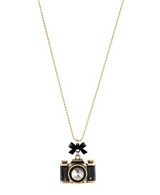 Betsey Johnson Gold-Tone Camera Pendant Necklace