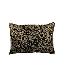 Daisy Rectangular Pillow Black And Gold