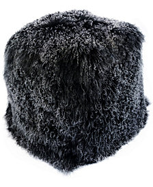 Lamb Fur Pouf Snow