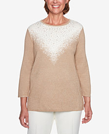 Alfred Dunner Metallic Ombré Sweater
