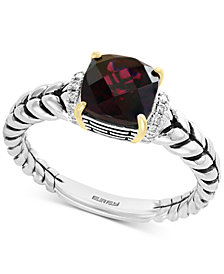 EFFY® Rhodolite Garnet (1-9/10 ct. t.w.) & Diamond Accent Statement Ring in Sterling Silver & 18k Gold