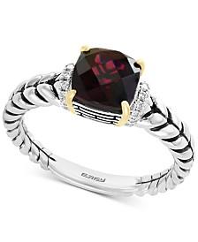 EFFY® Rhodolite Garnet (1-9/10 ct. t.w.) & Diamond Accent Statement Ring in Sterling Silver & 18k Gold