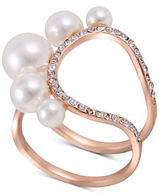 GUESS Rose Gold-Tone Imitation Pearl & Crystal Statement Ring