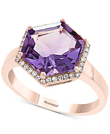 EFFY® Amethyst (3-5/8 ct. t.w.) & Diamond (1/8 ct. t.w.) Ring in 14k Rose Gold