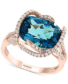 EFFY® Blue Topaz (8 ct. t.w.) & Diamond (3/8 ct. t.w.) Statement Ring in 14k Rose Gold