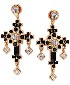 GUESS Gold-Tone Crystal & Stone Cross Drop Earrings