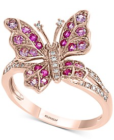 EFFY® Pink Sapphire (3/8 ct. t.w.) & Diamond (1/10 ct. t.w.) Ring in 14k Rose Gold