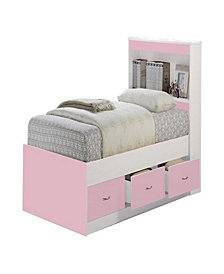 Twin-Size Captain Bed with 3-Drawers and Headboard in Pink