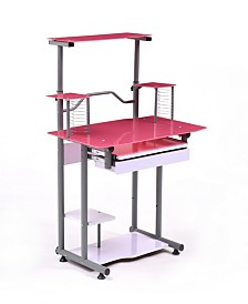 Tempered Glass Computer Desk with Pull-out Keyboard Tray plus CD racks