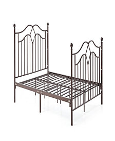 Complete Metal Full-Size Bed with Headboard, Footboard, Slats and Rails in Bronze