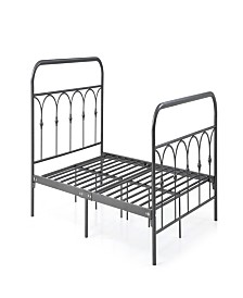 Complete Metal Full-Size Bed with Headboard, Footboard, Slats and Rails