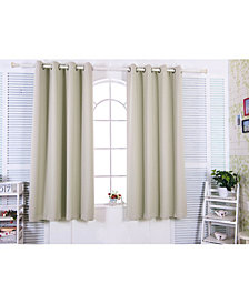 "63"" Tripoli Premium Solid Insulated Thermal Blackout Grommet Window Panels, Oyster"
