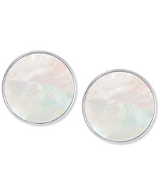 Mother-of-Pearl Disc Stud Earrings in Sterling Silver