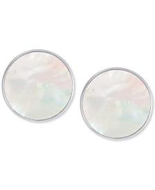 Mother-of-Pearl Disc Stud Earrings in Sterling Silver