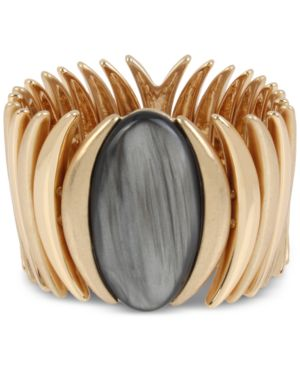 Oval Stone Sculptural Stretch Bracelet in Black