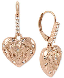 Betsey Johnson Rose Gold-Tone Pavé Winged Heart Drop Earrings