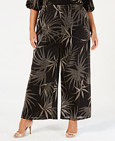 MSK Plus Size Metallic-Print Wide-Leg Pants