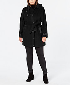 MICHAEL Michael Kors Plus Size Faux-Leather-Trim Belted Coat