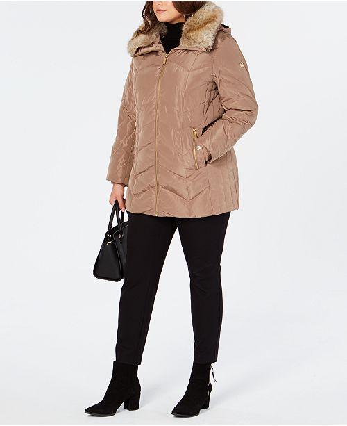 f89d7f4fc9 Michael Kors Plus Size Faux-Fur-Collar Down Coat & Reviews - Coats ...