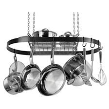 Range Kleen Black Enamel Oval Ceiling Pot Rack