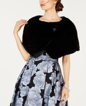 Tahari Asl Embellished Faux-Fur Capelet - Black