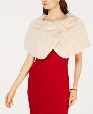 1920s Shawls, Scarves and Evening Jacket Tips Tahari Asl Embellished Faux-Fur Capelet $99.00 AT vintagedancer.com