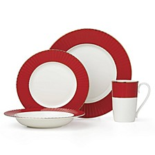 Pleated Colors Red 4 Piece Place Setting