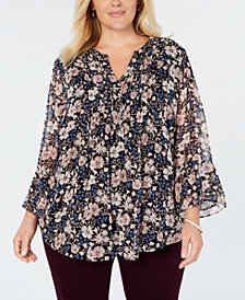Charter Club Plus Size Pintuck-Pleat Floral-Print Top, Created for Macy's