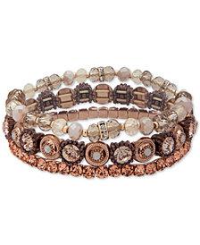 lonna & lilly Gold-Tone Bead & Stone Multi-Layer Bangle Bracelet