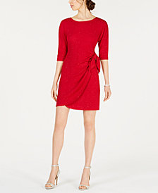 Robbie Bee Petite Elbow-Sleeve Glitter Dress