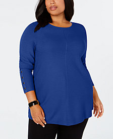 Alfani Plus Size Ribbed Snap-Detail Sweater, Created for Macy's
