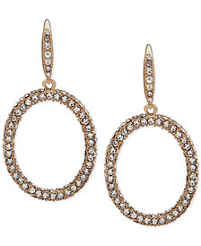 Lauren Ralph Lauren Gold-Tone Pavé Drop Hoop Earrings