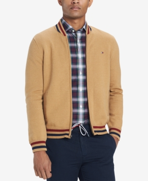Men's Vintage Style Coats and Jackets Tommy Hilfiger Mens Full-Zip Baseball Sweater $29.99 AT vintagedancer.com