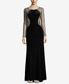 XSCAPE Velvet Illusion Gown