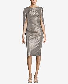 Betsy Adam Metallic Capelet Sheath Dress